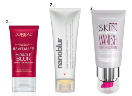 1. Revitalift Miracle Blur L'Oréal Paris; 2. Nanoblur; 3. Miracle Skin Transformer Vanish